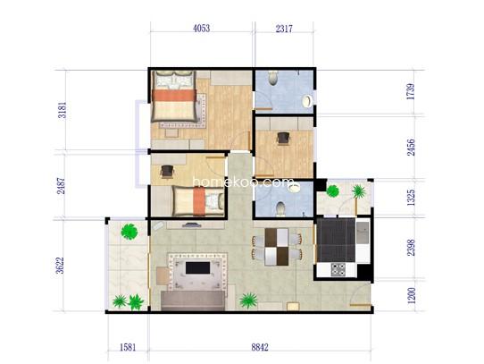E1栋01户型3室2厅2卫 112�O