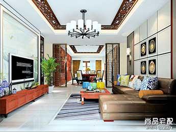 新中式客厅吊灯吊顶效果图