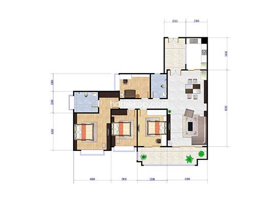 二期D1栋03-04户型4房2厅1厨2卫153方