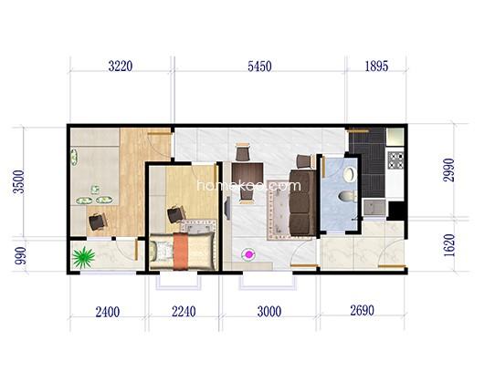 B42栋03040708户型 2室2厅1卫1厨 69.00�O
