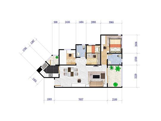 2期1座2座0102户型3室2厅2卫1厨 91�O