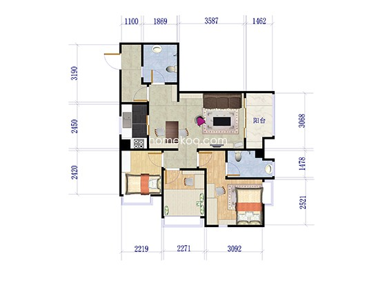 U1栋02 11户型 3室2厅2卫1厨 93.00�O