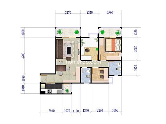 3期银松五街1栋08户型 3室2厅2卫1厨 93.5�O