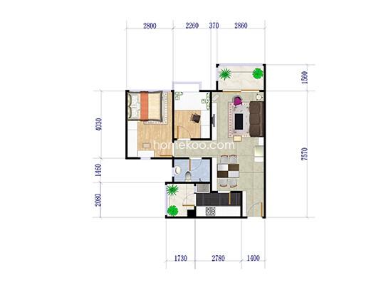 C20-01户型 2室2厅1卫1厨 76.00�O