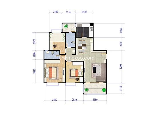 尊尚府C6-04户型 3室2厅1卫1厨 120.00�O