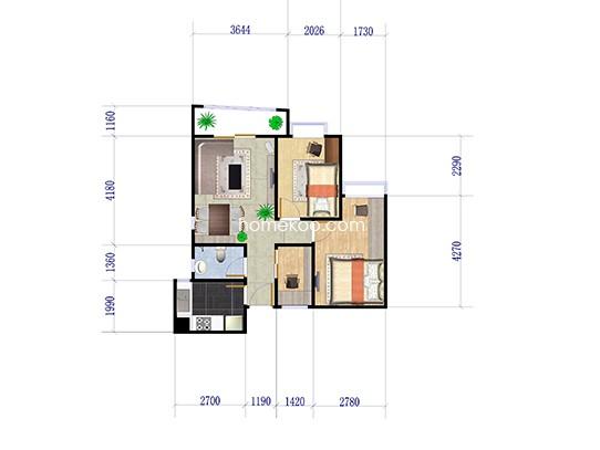 G座0506单位 3室2厅1卫1厨 75.00�O