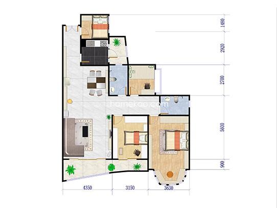 御景轩B座03单位 4室2厅2卫1厨 145.00�O