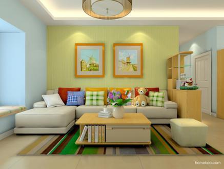简约沙发背景墙效果图