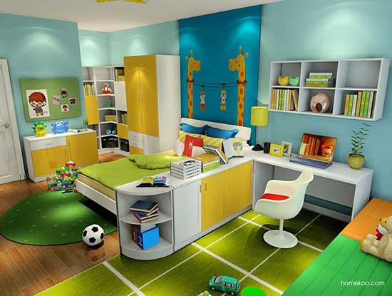 儿童书桌书柜效果图,打造成孩子的专属天地