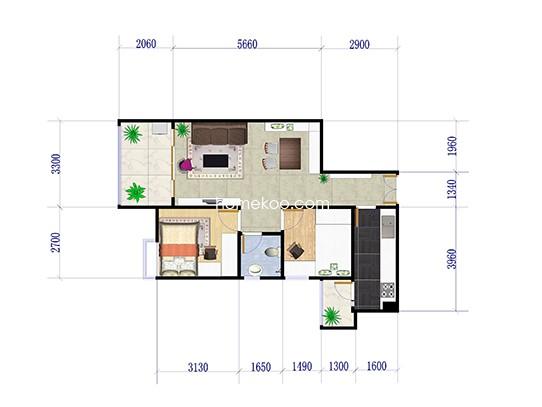 H6栋6-25层01户型 2室2厅1卫1  88.41�O