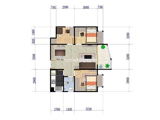 G30栋1单位 3室2厅1卫1厨  91.09�O