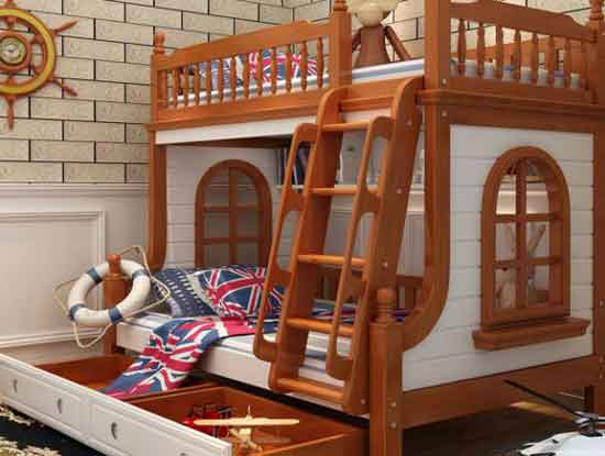 实木双层儿童床图片,打造一个童话里的世界