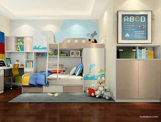 儿童高低床装修效果图,二胎家庭值得选择