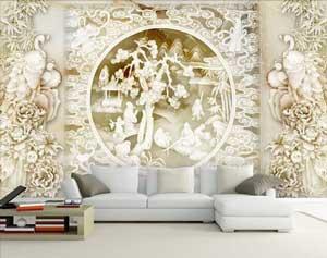 沙发背景墙浮雕的设计好看吗?