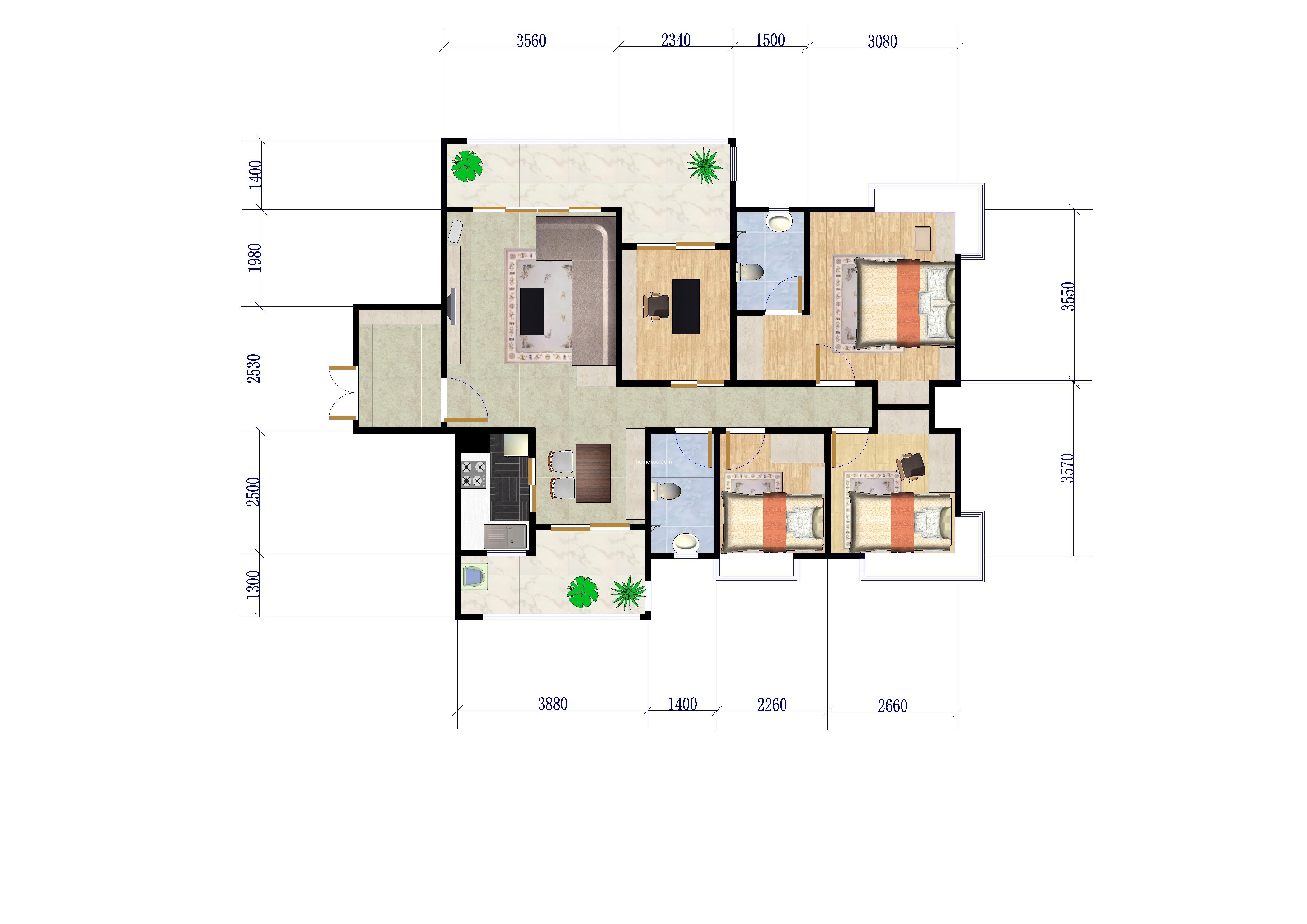 C11、13、15栋4户型 4室2厅2卫 145�O