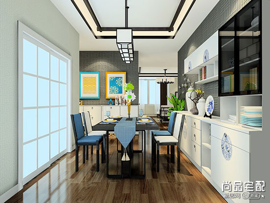 中式餐厅吊顶效果图设计