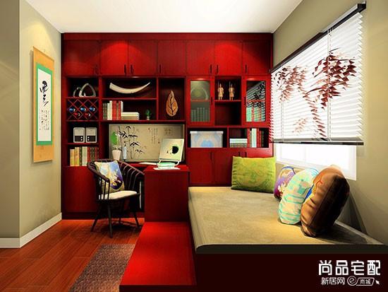 现代中式书房效果图