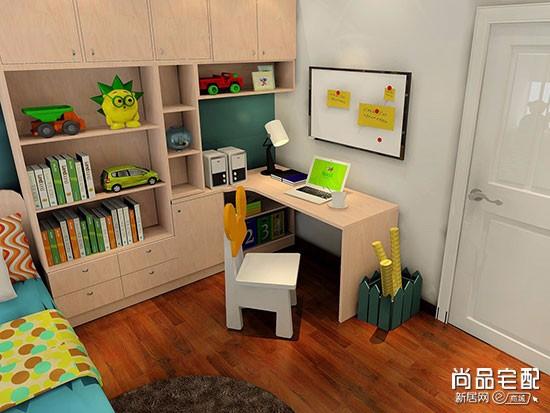 儿童房电脑桌书柜一体