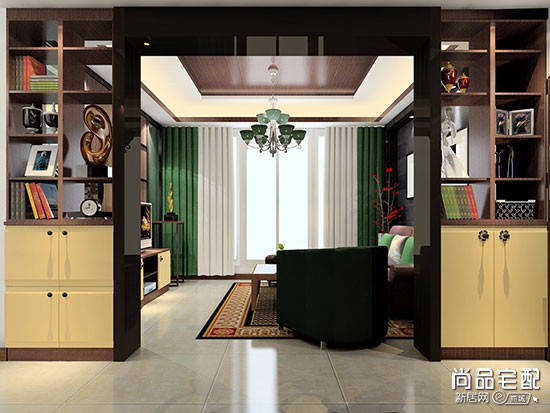 中式三角装饰柜效果图