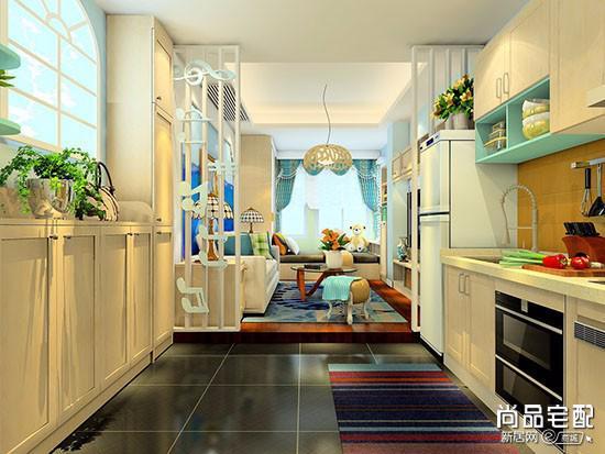 开放式厨房帘子图片