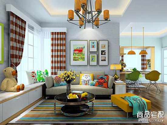 客厅条纹墙纸效果图