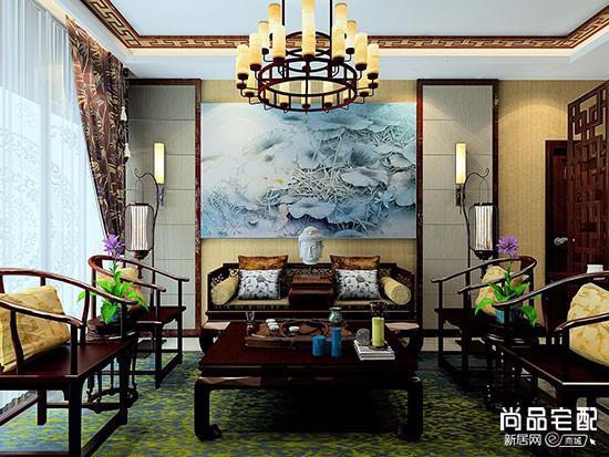 新中式窗帘效果图