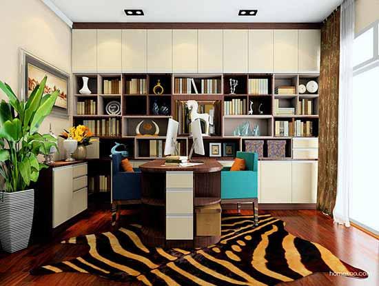 欧式整体书柜效果图,营造出自然柔和的空间