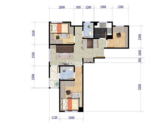 A1户型   3室1厅1卫  98.0�O