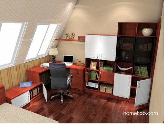 在有限的閣樓裝修樣板房空間中建造一款l型轉角的組合書桌柜,使可