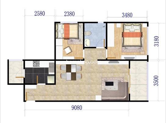 80平方米两室一厅装修图