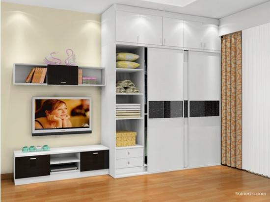 简洁的线条,现代风格的家具,结构简单的装饰吊柜搭配着电视柜的设计图片