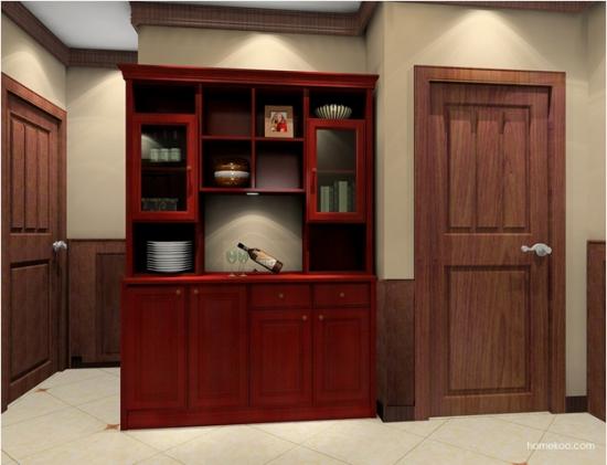 此新中式酒柜效果图呈现于眼前的是非常具有古典美的一个酒柜,盘子图片