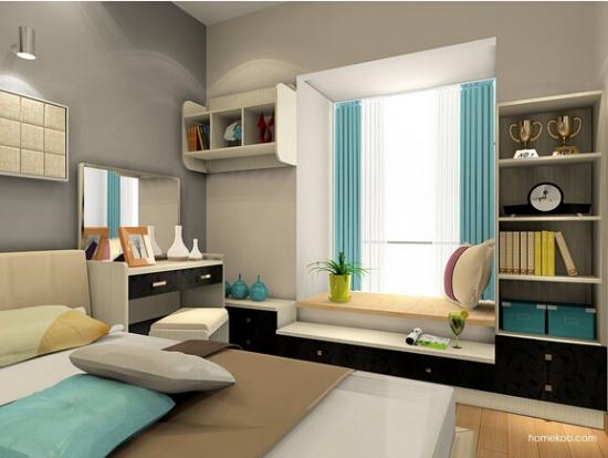榻榻米书房兼卧室 10平米的卧室,兼具书房的功能,想要