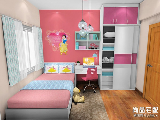 儿童房间布置图片女孩_儿童公主上下床图片图片