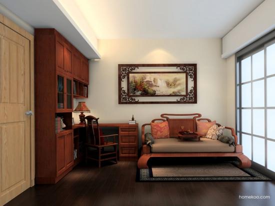 新中式书房装修 软垫营造舒适感