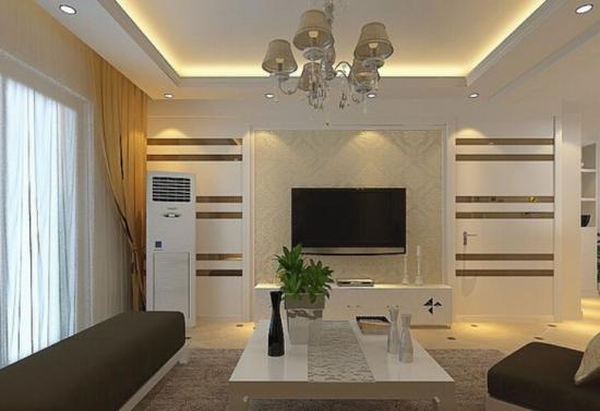 客厅隐形门电视背景墙的搭配设计