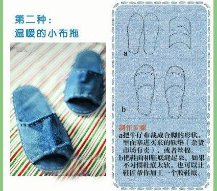 旧牛仔裤废物的多种利用