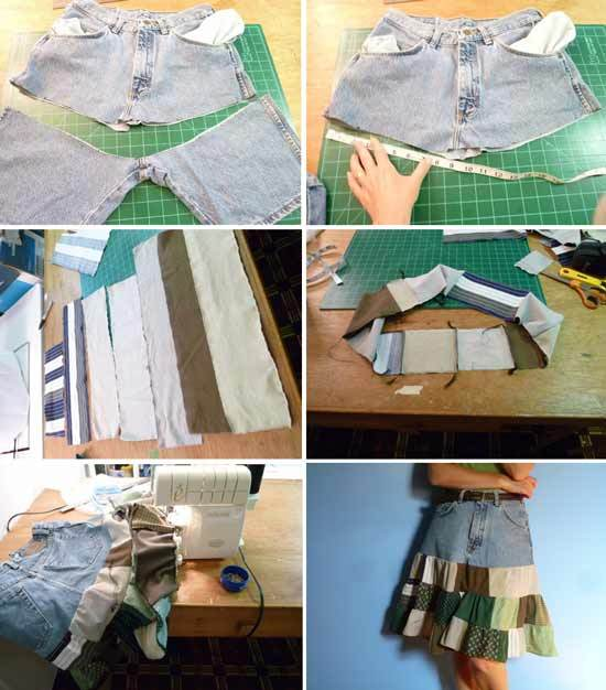 旧衣物巧利用:旧衣物改造精美及膝裙图解