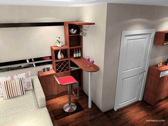 客厅吧台装修效果图1:客餐厅主色调以浅色为主,配以灰白条纹搭配,让空间淡雅而自然。整体家具以最简单的线条和色块塑造出北欧简约的美感,适合欧式、简约的家居风格,咖啡色皮质沙发搭配剔透玻璃,整洁大方。  客厅吧台装修效果图2:一进门的多功能的鞋柜,起到了储物、隔断的作用,旁边沙发对面的时尚电视柜与吧台相结合,显得非常美观、大气,面板绿色交错,略带抽象的花型,旋转的藤蔓充满了法式优雅的浪漫气息,简洁、干净的空间感体现雅致东方美。  客厅吧台装修效果图3:一进门的时尚与创新兼备的鞋柜,旁边的吧台与书柜相连接,整