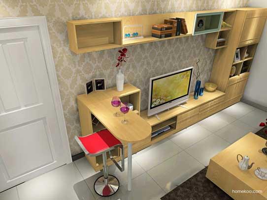客厅吧台装修效果图8:一进门布置了一个吧台与电视柜的结合,转角沙发