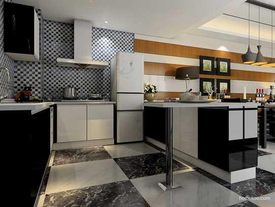 家庭吧台装修效果图1:以意大利简约主义为精髓,撷取黑与白的经典搭配,再配以暗底花纹,使整个理性而沉静的空间,将黑白打造的简约化身为一种BLING风潮的低调奢华。 推荐人群:时尚达人,理性思考,感性生活  家庭吧台装修效果图2:本方案开放式的厨房和餐厅、客厅连接在一起,整个空间大气,而且配合适当的黑镜、不锈钢硬装,使空间具有时尚贵族的气息。 推荐人群:个性独立,新一代中坚力量  家庭吧台装修效果图3:合理的利用飘窗作为上网休闲区,靠墙的用餐区规划的非常合理:照顾到储物及取用的方便。电视柜和鞋柜的组合也是小