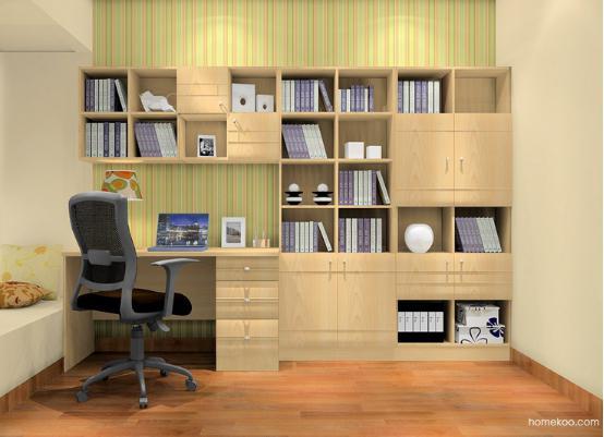 小书房美式书柜效果图 书房书柜装修图片