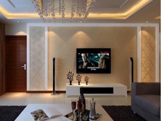 客厅硅藻泥沙发背景墙效果图