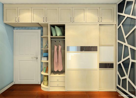这个卧室衣柜的设计让空间的功能性变得多样化,整体的色调是比较清新的,而且演绎出自然而温馨的气氛,舒适的感觉是新一代中坚力量喜欢的风格,衣柜的设计合理地利用了空间。整体的风格一致,让空间变得更加和谐而完整。 卧室整体衣柜效果图风格展示:效果图四
