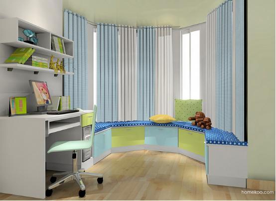 户型不可能千篇一律,所以在设计的时候肯定会碰到比较特殊的情况,只要好好设计,就可以设计出很完美的空间,儿童房飘窗装修效果图风格展示之童趣横生系列的感觉是非常不错的,色彩靓丽,空间充斥着天真可爱的感觉,适合孩子的成长。   儿童房飘窗装修效果图一    窗户呈弧形状是非常不错的感觉,只要子啊窗下设计弧形的飘窗就可以很好看,柜体的设计不仅美观,而且还可以非常实用,这样的设计对于孩子来说,是非常不错的,可以作为青少年房的阅读区,还可以休闲娱乐,风格浪漫。   儿童房飘窗装修效果图二    衣柜与床的设计都是
