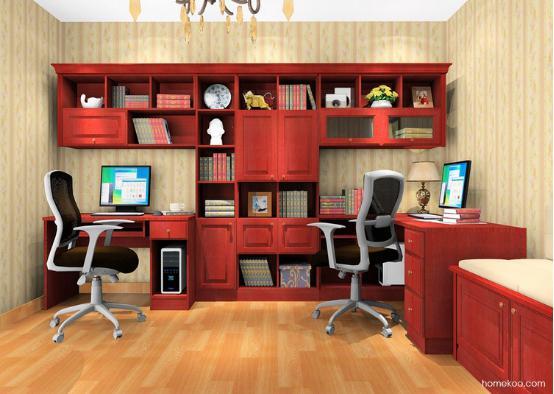 转角书柜带电脑桌效果图2016图片