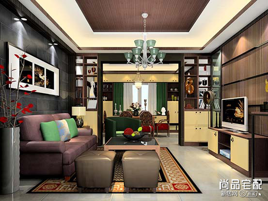 客厅兼书房装修图
