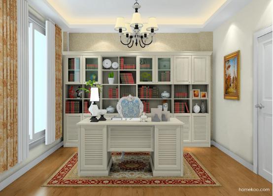 书房电脑桌带书柜图片 书柜电脑桌图片大全