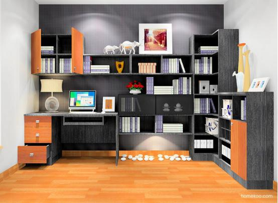 书房电脑桌带书柜图片