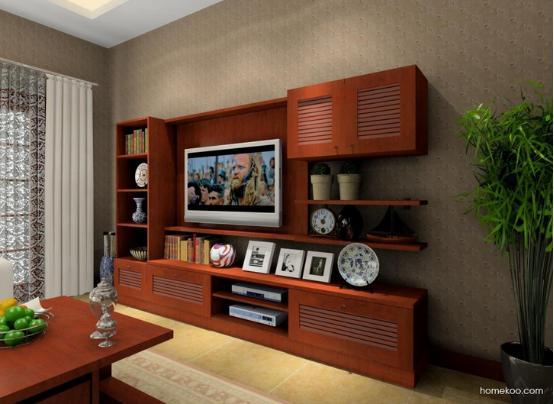 中式客厅背景墙图片    以极具中式味道的苹果木来作为电视柜的板材图片